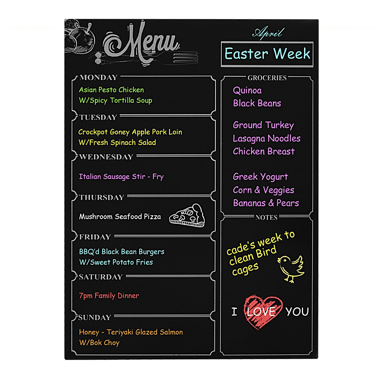 Weekly Board Magnetic Refrigerator Dry Erase Black Board Dinner List Meal Planner Note Area for Shopping List Diabetic Meal Prep Planning 16''X 12''