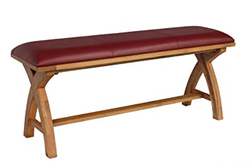 Exceptional Cross Leg Country Oak Dining Bench With A Red Leather Seat Pad   120cm