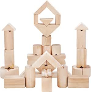 Safe Natural Building Blocks For Toddlers - Stacking Blocks For Kids Age 3 Up. Double Your Children Potential Playing With Wooden Blocks At Home, School Or Daycare. 34 Non Slippery Building Blocks.