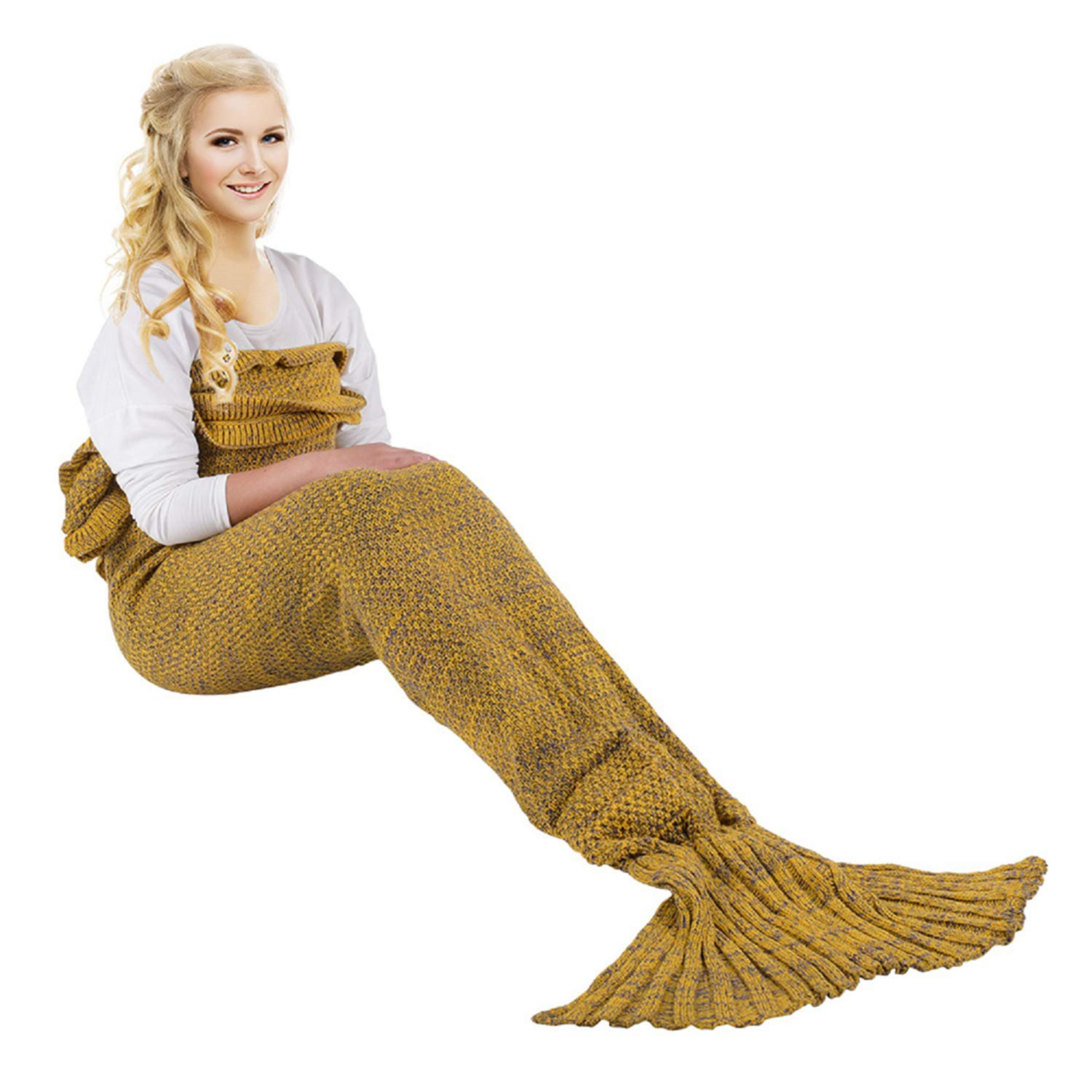 iBaby888 Wearable Mermaid Tail Blanket Crochet, All Seasons Warm Knitted Bed Blanket Sofa Quilt Living Room Sleeping Bag for Adults, Classic Pattern with Lace, 70.9'' x 35.5'' (180 x 90cm), Yellow by iBaby888