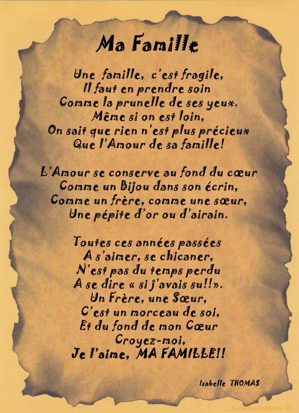 Un Poème à Offrir à Sa Famille Amazonfr Handmade