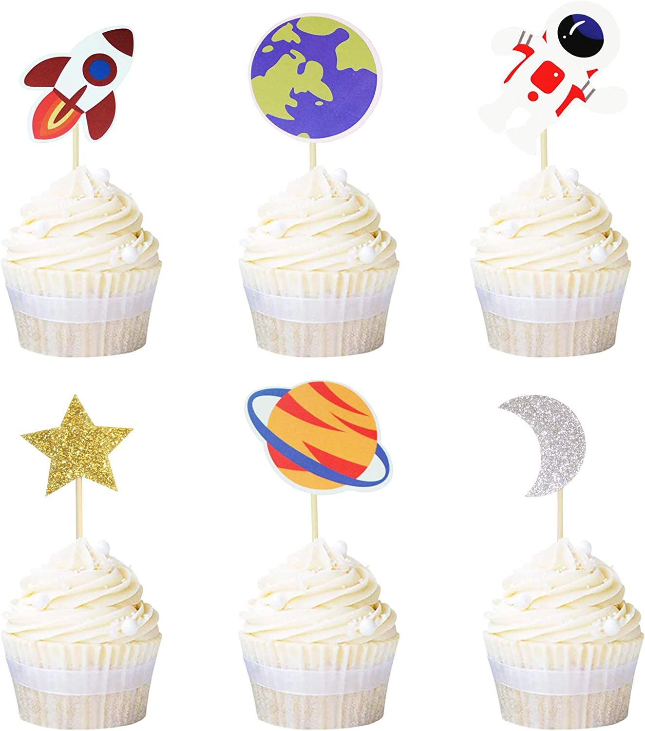 Ercadio 36 Pack Space Astronaut Cupcake Toppers Rocket Planet Trip to the Moon Cupcake Picks Baby Shower Boys Girls Birthday Outer Space Themed Party Cake Decorations Supplies
