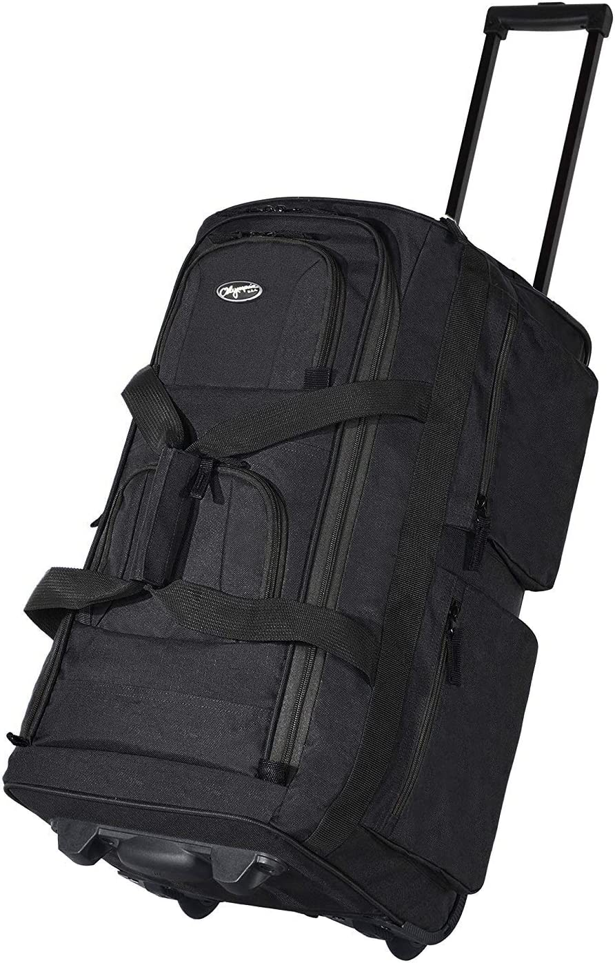 Olympia Luggage 22 8 Pocket Rolling Duffel Bag Black Gray