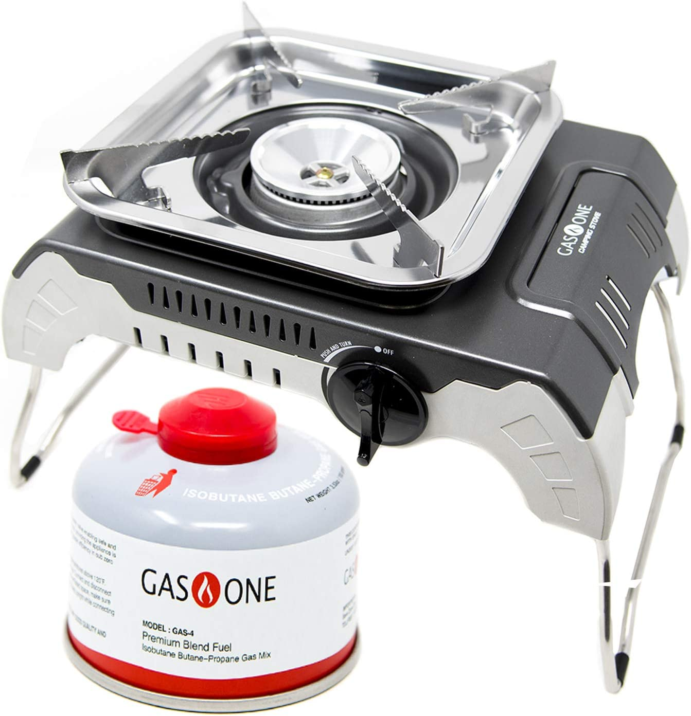 GasOne - Camp Stove with Fuel Included - Isobutane Portable Stove - High Output Stove