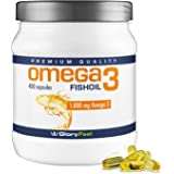 Omega 3 Fish Oil Capsules 1000mg - 400 Softgels High Strength Fishoil - Comparison Winner 2018* - 180mg DHA and 120mg Epa per Softgel-Capsule - No Magensiumstearate - Supplements by GloryFeel