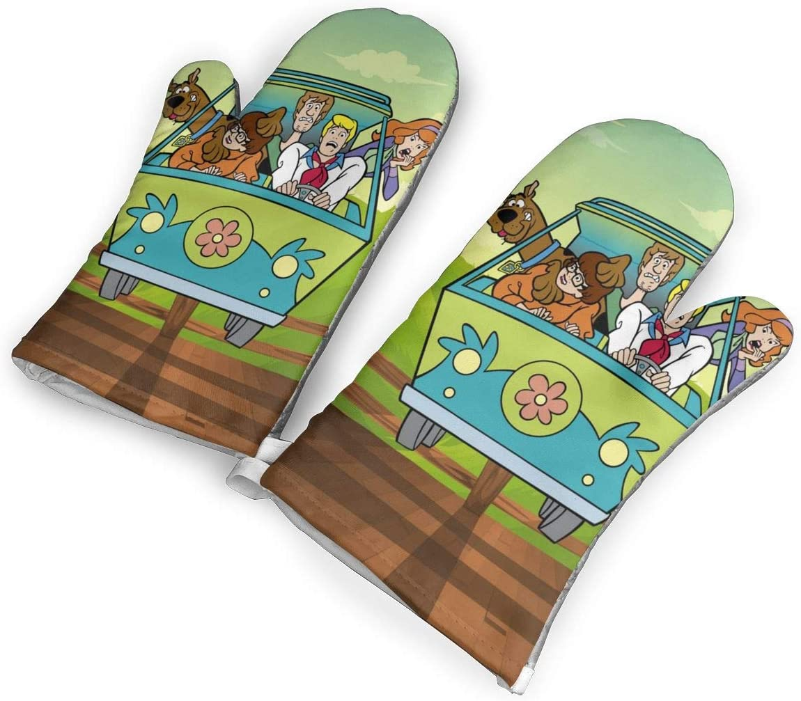 not Scooby Doo Minivan Cartoon Car Bumper Sticker Decal Oven Mitts with Polyester Fabric Printed Pattern,1 Pair of Heat Resistant Oven Gloves for Cooking,Baking,Grilling,Barbecue Potholders