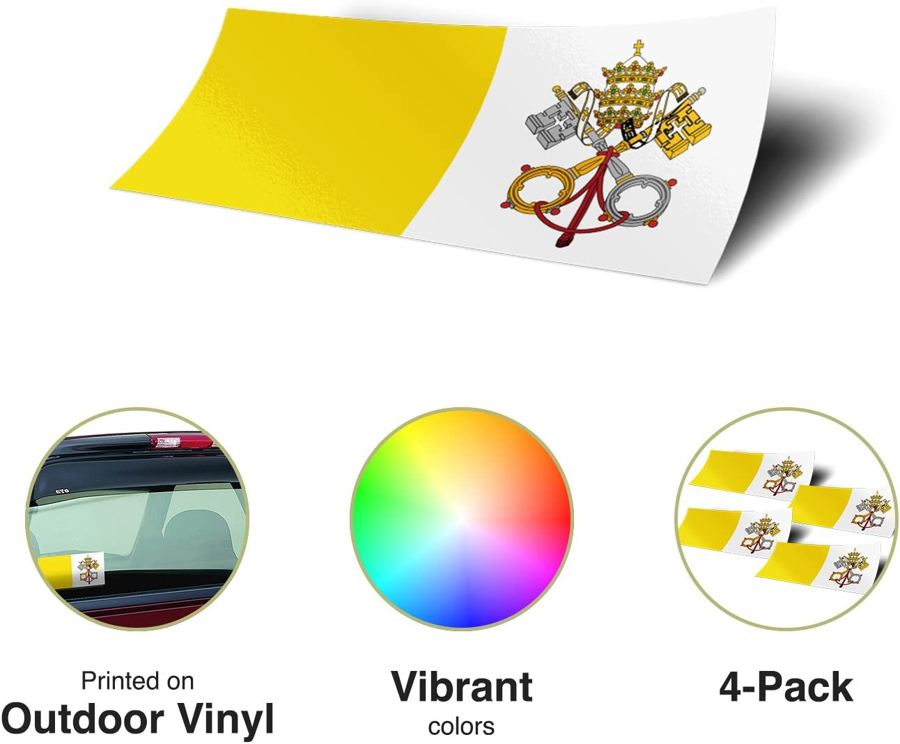 Desert Cactus Vatican City 4 Pack of 4 Inch Wide Country Flag Stickers Decal for Window Laptop Computer Vinyl Car Bumper 4