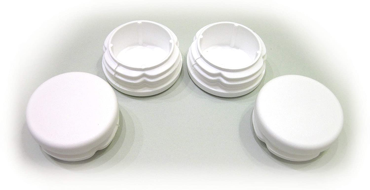4pcs Pack: 1 1/2 Inch Round White Plastic End Cap (for Hole Size from 1 3/16 to 1 7/16, Including 1 1/4, 1 3/8 inches), Furniture Finishing Plug