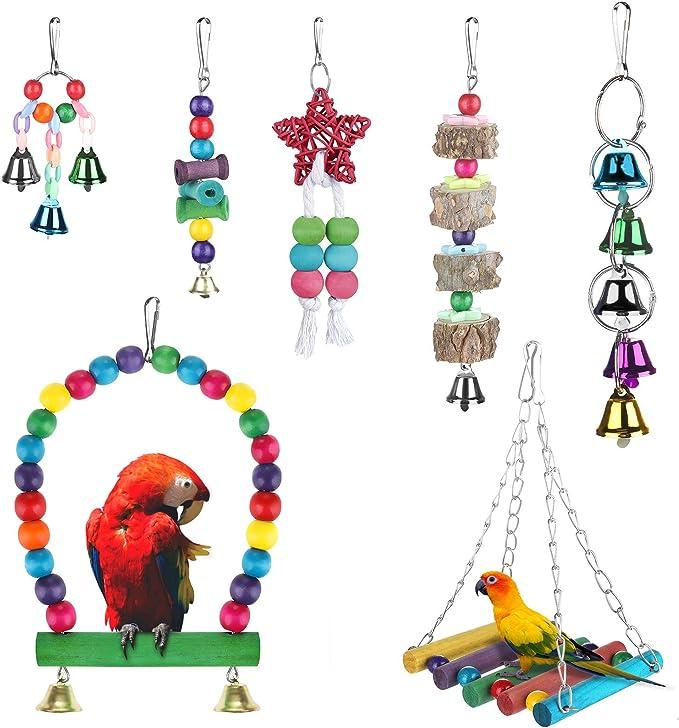 Zacro 7pcs Juguetes de Loro Pájaro, Juguetes para Pájaros Juguete Colgante para Mascotas con Campanas,Columpios,Juguete de Masticación para Pequeños y Medianos Loros de Aves, Periquitos, Pinzones: Amazon.es: Productos para mascotas