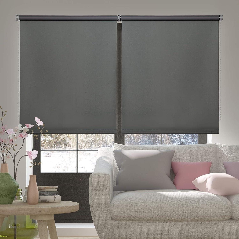 Stores Deco Estor Opaco 45 cm x 180 cm, Gris Estor Enrollable Blackout para Ventanas y Puertas