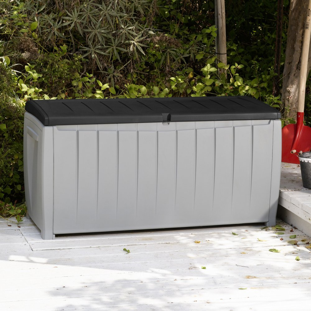 Best Selling Solid Resin Plastic Weather Water Resistant Two-Tone Gray/Black 90-Gallon Outdoor Deck Storage Box Bench Seat- Durable Chip Resistant Deep Storage Compartment- Easy Lift Lid- Deck Pool Keynote
