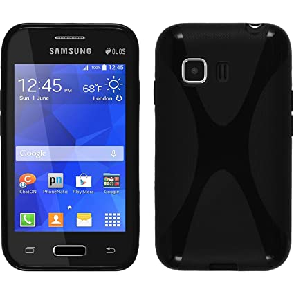 PhoneNatic Funda de silicona para Samsung Galaxy Young 2 - X-Style negro - Cover Cubierta + protector de pantalla