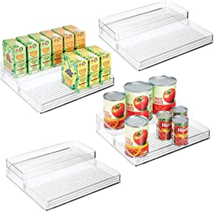 mDesign Plastic Kitchen Food Storage Organizer Shelves, Spice Rack Holder for Cabinet, Cupboard, Countertop, Pantry - Holds Jars, Baking Supplies, Canned Food, Pasta - 2 Levels, 10