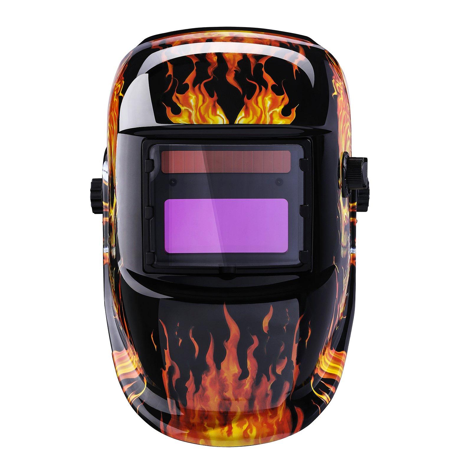 Solar Powered Welding Helmet Auto Darkening Professional Hood with Wide Lens Adjustable Shade Range by DEKOPRO (Image #3)