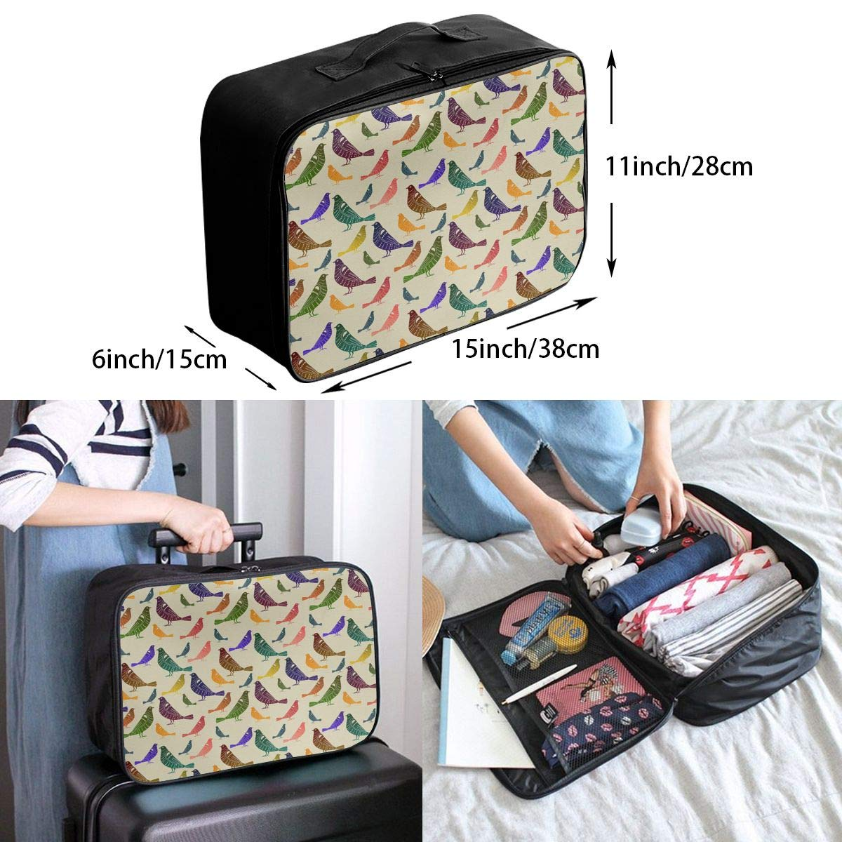 Travel Fashion Lightweight Large Capacity Duffel Portable Waterproof Foldable Storage Carry Luggage Tote Bag Rainbow Parakeets Budgies