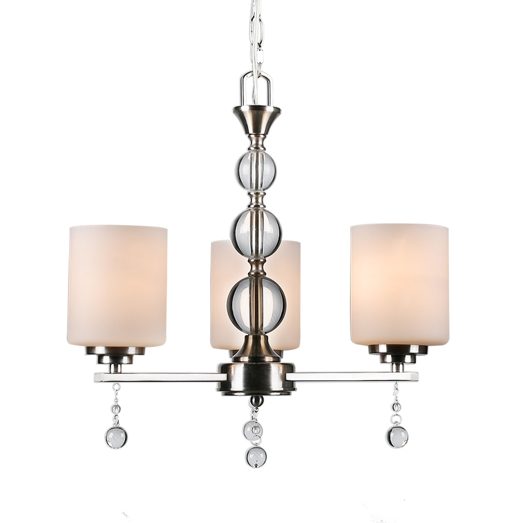 CO-Z Brushed Nickel 3 Light Chandelier, Contemporary Ceiling Lighting Fixtures Dining Room Hallway K9 Crystal Balls, w/Satin Etched Cased Opal Glasss Shade