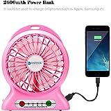 Tischventilator, dizauL USB mini Fan multifunktions tragbaren mobilen 3-Gang Schreibtisch/ Tisch Fan+power bank+LED Taschenlampe-pink
