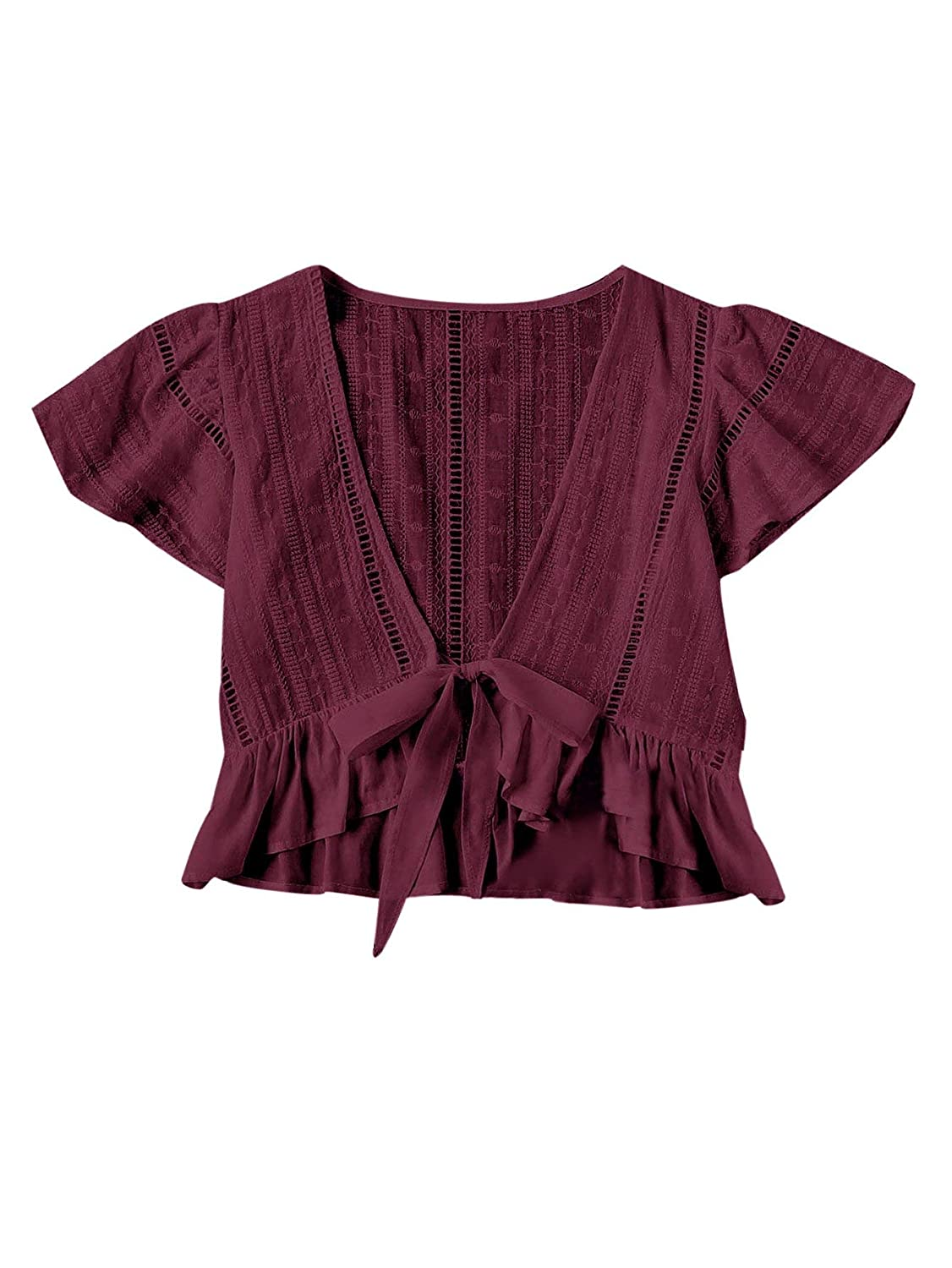 Burgundy Floerns Women's Summer Cute Short Sleeve Bow Tie Crop Blouse Top