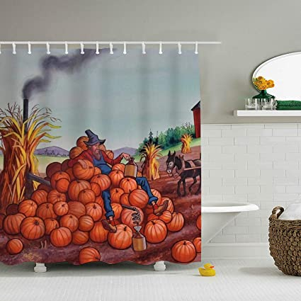 Amazon.com: Una Stowe Pumpkin On Farm Print Bath Shower ...