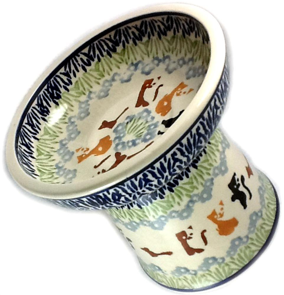 Polish Pottery Cat Raised Dry Food Bowl KOT4 Abstract Cats by Poughkeepsie Polish Pottery