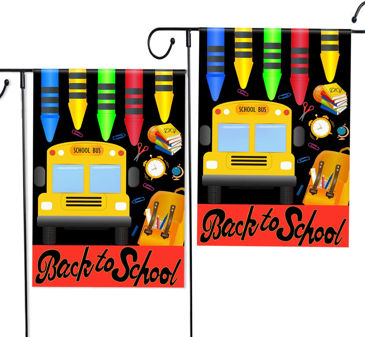 2 Pack Welcome Back to School Garden Flag with Double-Sides Indoor Outdoor Yard Decorative Lawn (12 x 18 Inches)