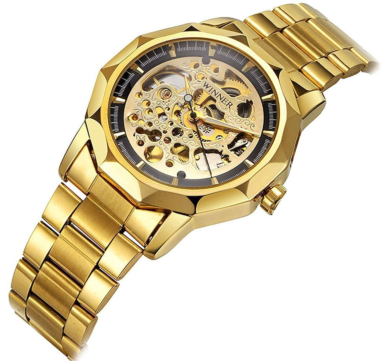 Men s Automatic Mechanical Waterproof Stainless Steel Sport Unisex Gold Watch Black