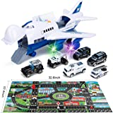 Car Toys Set with Transport Cargo Airplane and Large Play Mat, Mini Educational Vehicle Police Car Set for Kids Toddlers Boys