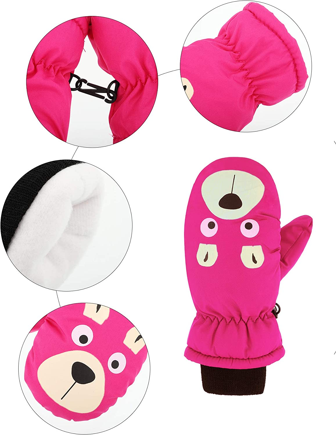 2 Pairs Kids Ski Mittens Children Winter Windproof Gloves Warm Sports Snow Mittens