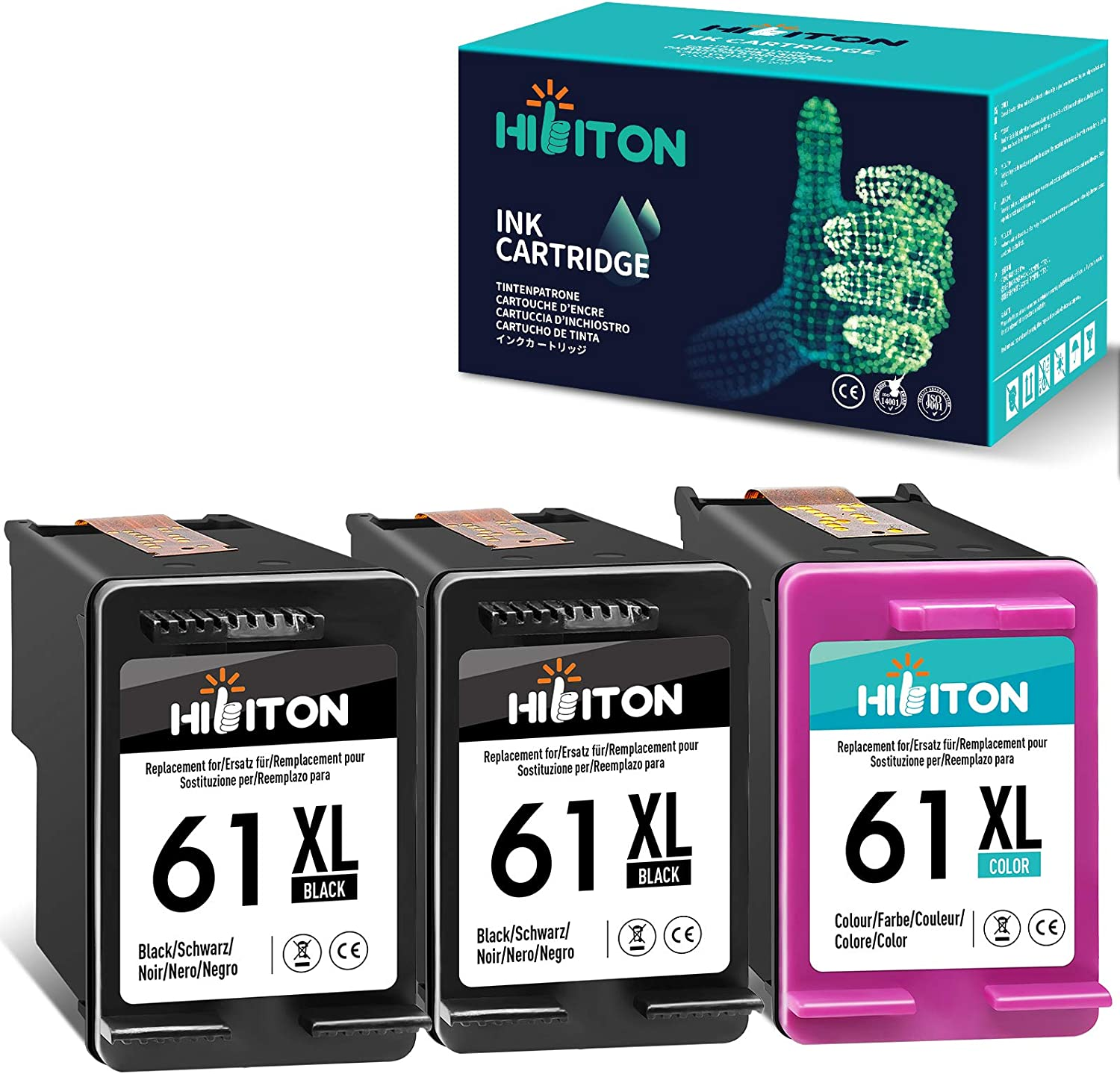 HibiTon Remanufactured Ink Cartridge Replacement for HP 61XL 61 XL Work with Envy 4500 4502 5530 DeskJet 2512 1512 2542 2540 2544 3000 3052a 1055 3051a OfficeJet 4630 Printer (Black,Tri-Color) 3 Pack