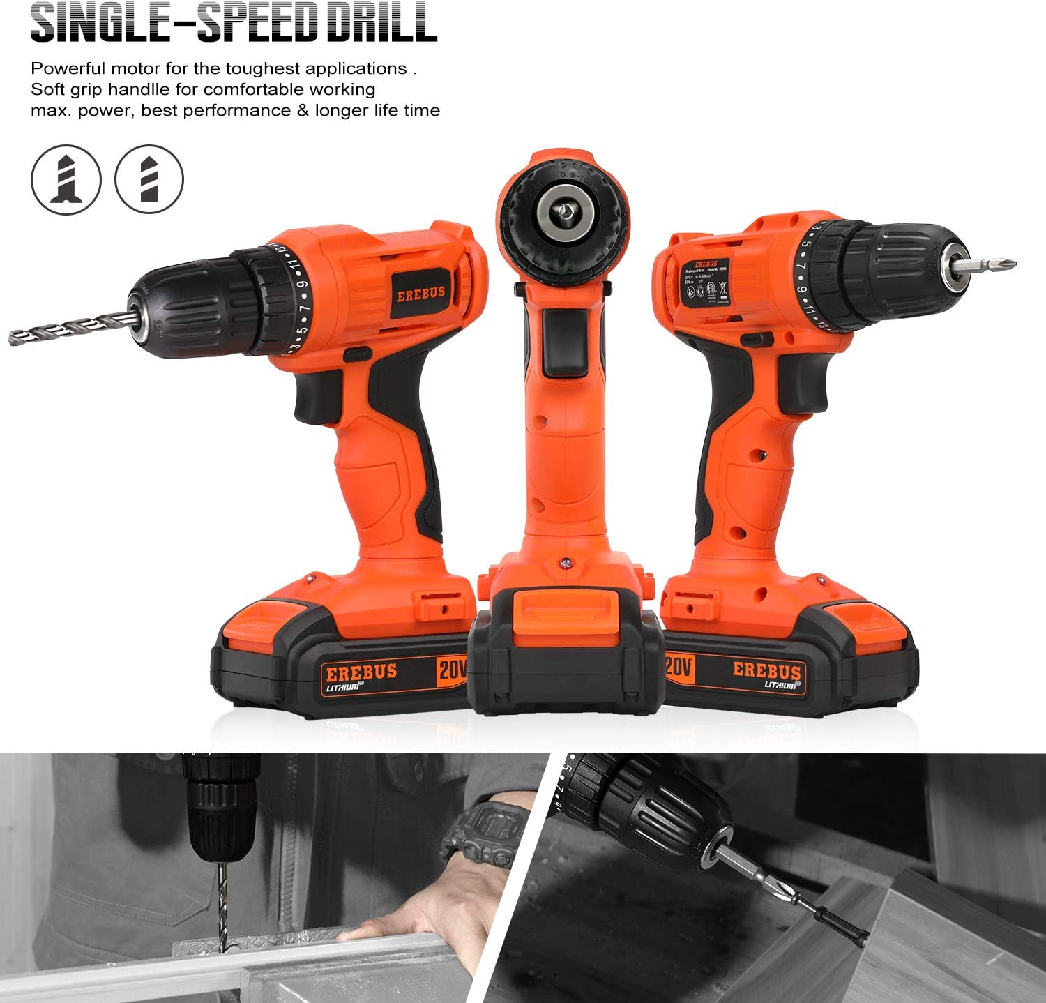 EREBUS 20V MAX Cordless Drill w// 2 Speed and 3//8/'/' Keyless Chuck 95605