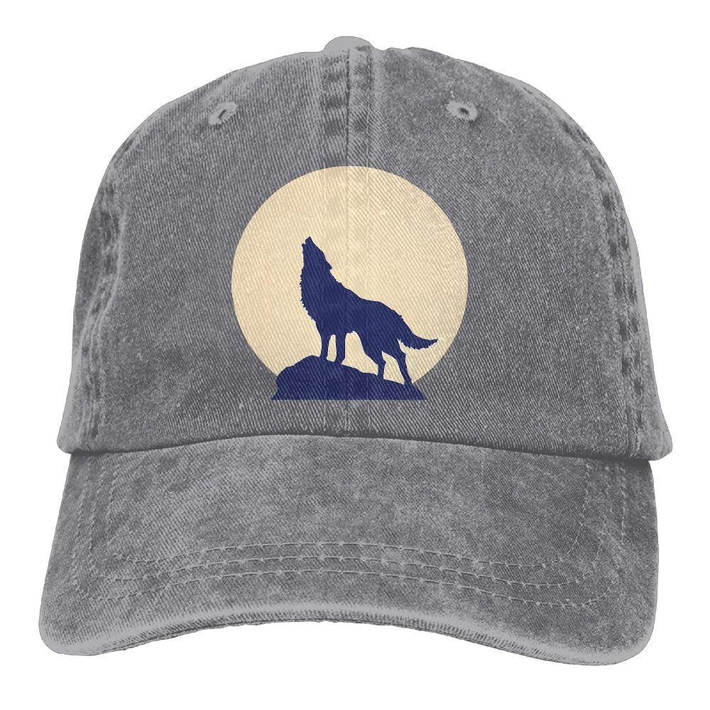 AZNM Unisex Washed Moon Wolf Casual Denim Baseball Cap Adjustable Hunting Hat