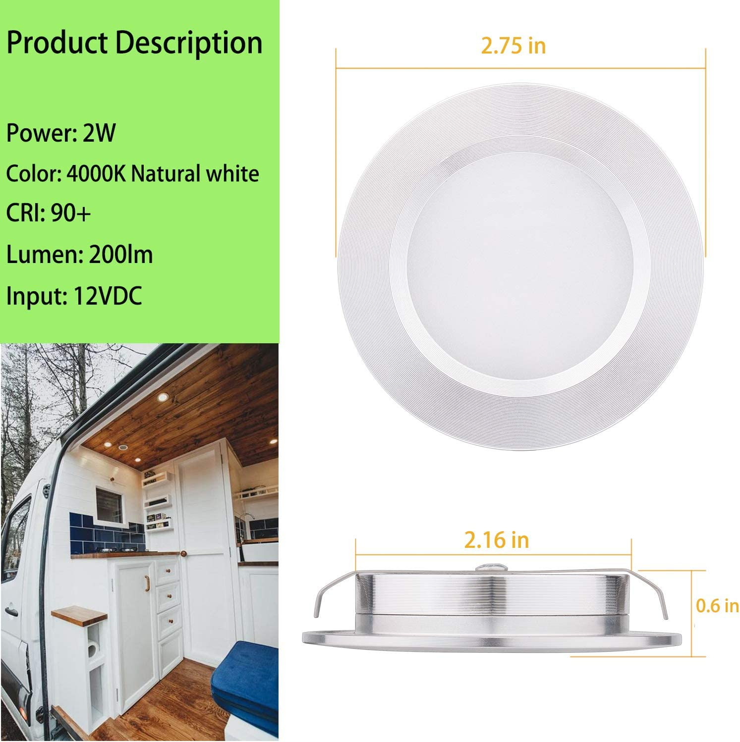Aiboo Rv Interior Lights Super Slim Led Ceiling Lights Dc12v 2w 200lm Full Aluminum Rv Recessed