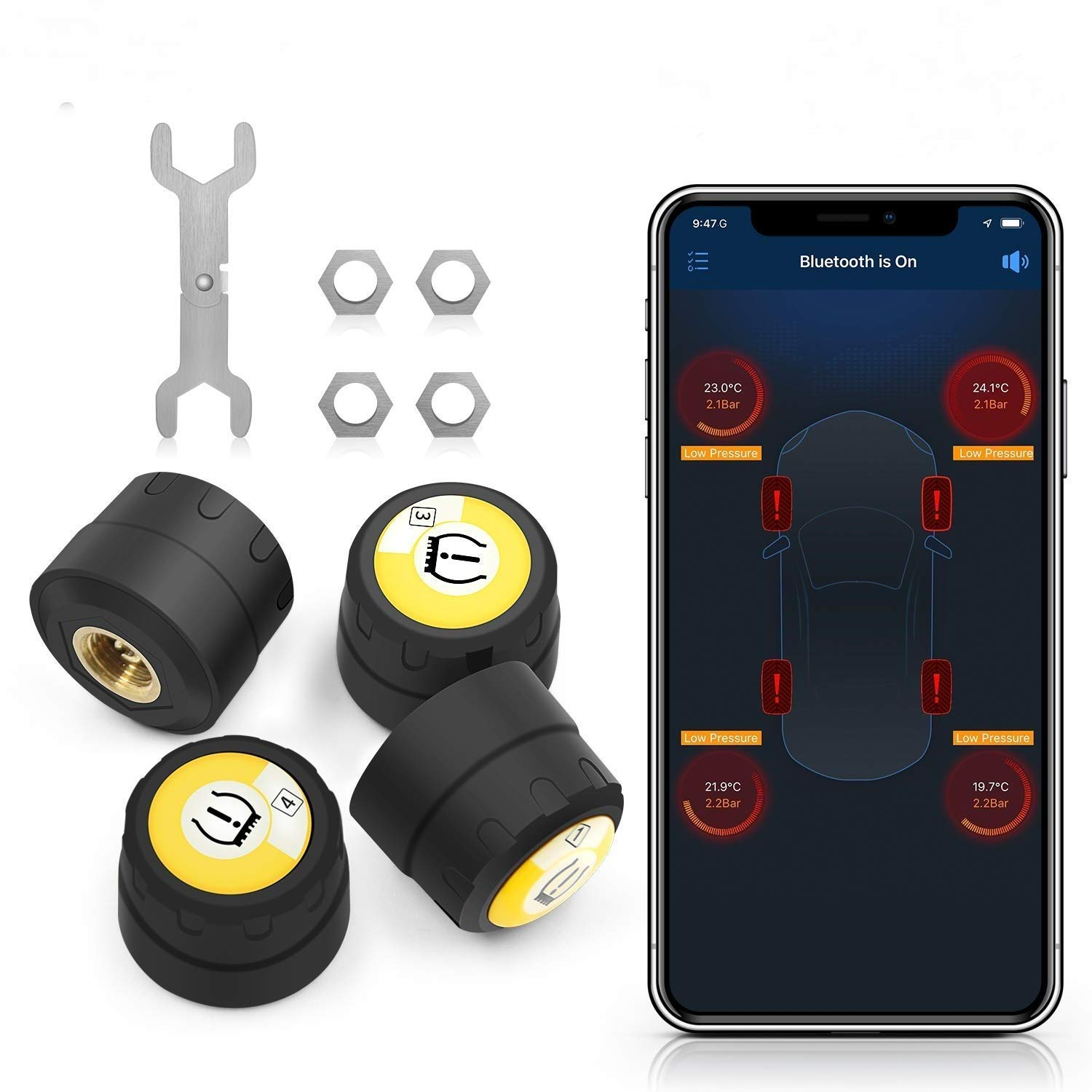 WonVon TPMS Monitor System Car Wireless Monitor Alarm System BT-4.0 Compatible with Andriod iOS Tire Pressure with External 4 Sensors