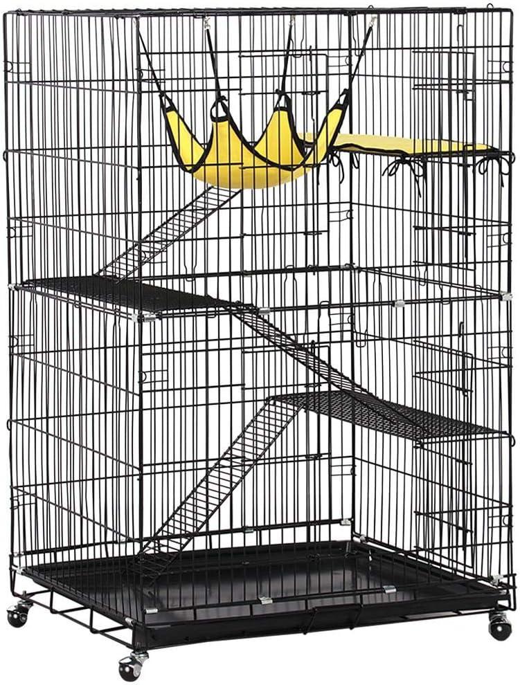 Yaheetech 4 Tier Cat Cage Large Rolling Kitten Cage - Metal Pet Playpen w/ 3 Ramp Ladders/2 Doors/Hammock Indoor Outdoor 32L x 22W x 48H Black