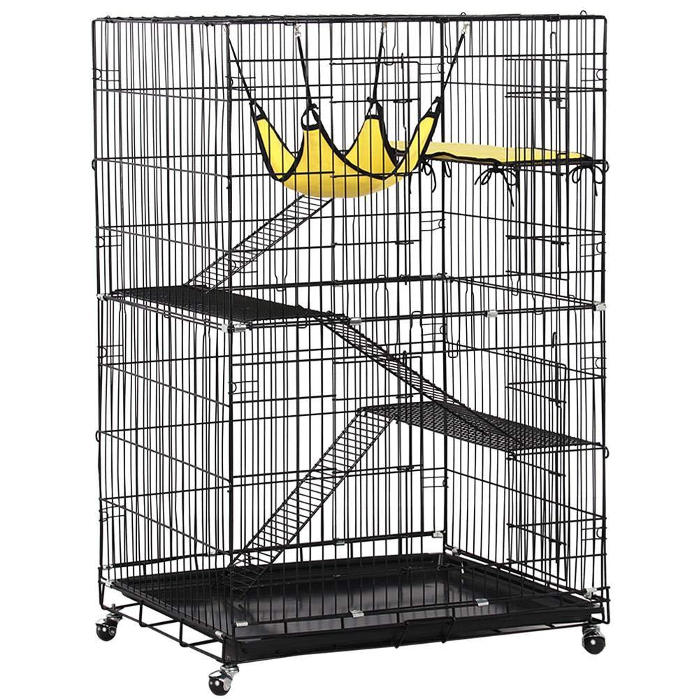 Yaheetech 4 Tier Cat Cage Large Rolling Kitten Ferret Cage - Metal Pet Playpen w/ 3 Ramp Ladders/2 Doors/Hammock Indoor Outdoor 32L x 22W x 48H Black