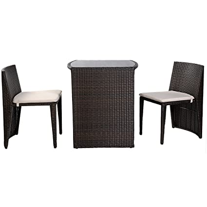 Amazon.com: Goplus 5 Piece Bistro Set Outdoor Patio Furniture Sets Weather  Resistant Garden Round Table And 4 Folding Chairs: Garden U0026 Outdoor