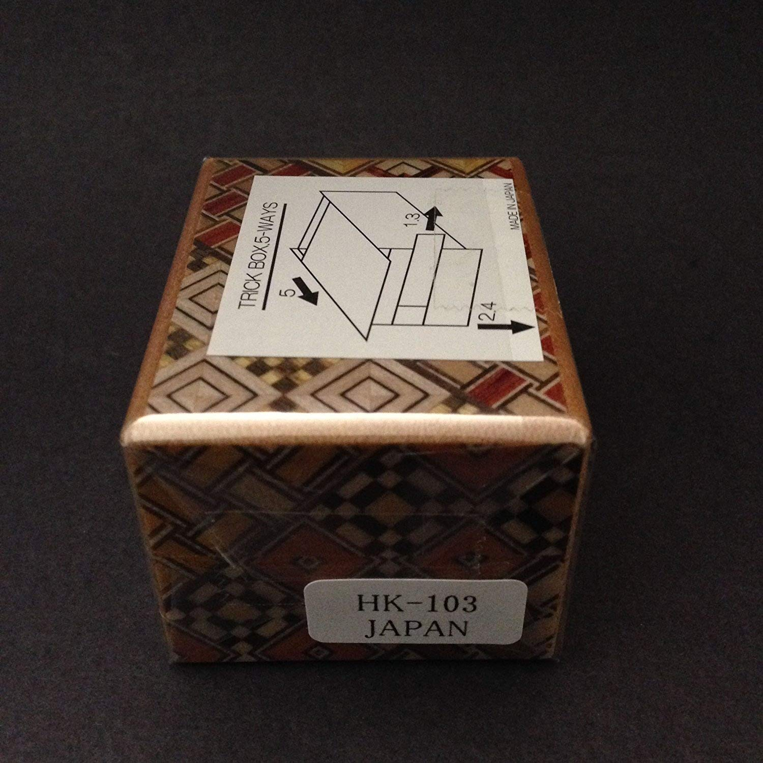 Japanese Wooden Yosegi Magic Secret Puzzle Trick Box #HK-103 (5-Way Steps), Made in Japan Yokohama Gifts