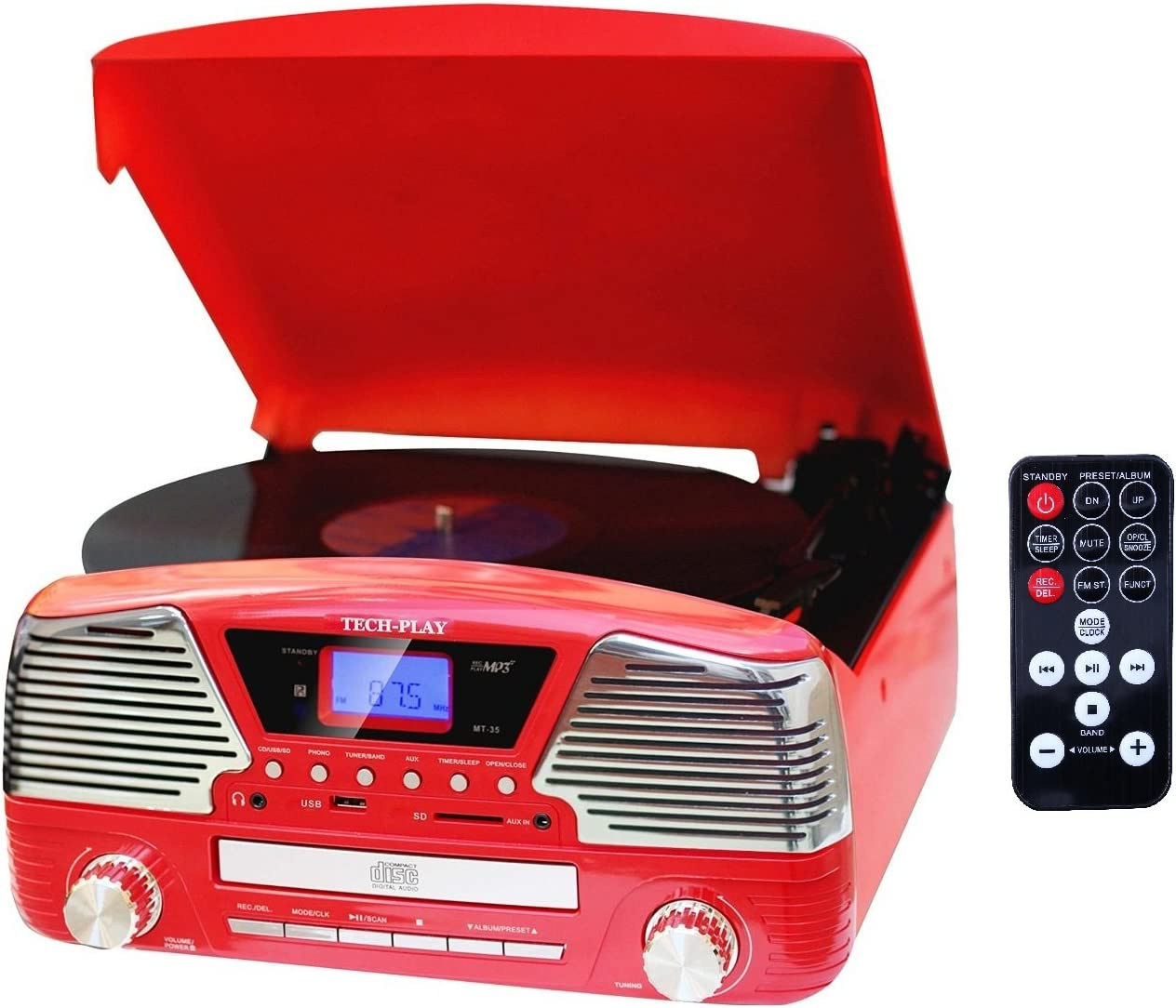 TechPlay ODC35 RD, 3 Spead turntable, programmable MP3 CD player, USB SD, radio remote control in Red