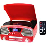 TechPlay ODC35, 3 Spead turntable, programmable MP3 CD player, USB/SD, radio & remote control (Red)