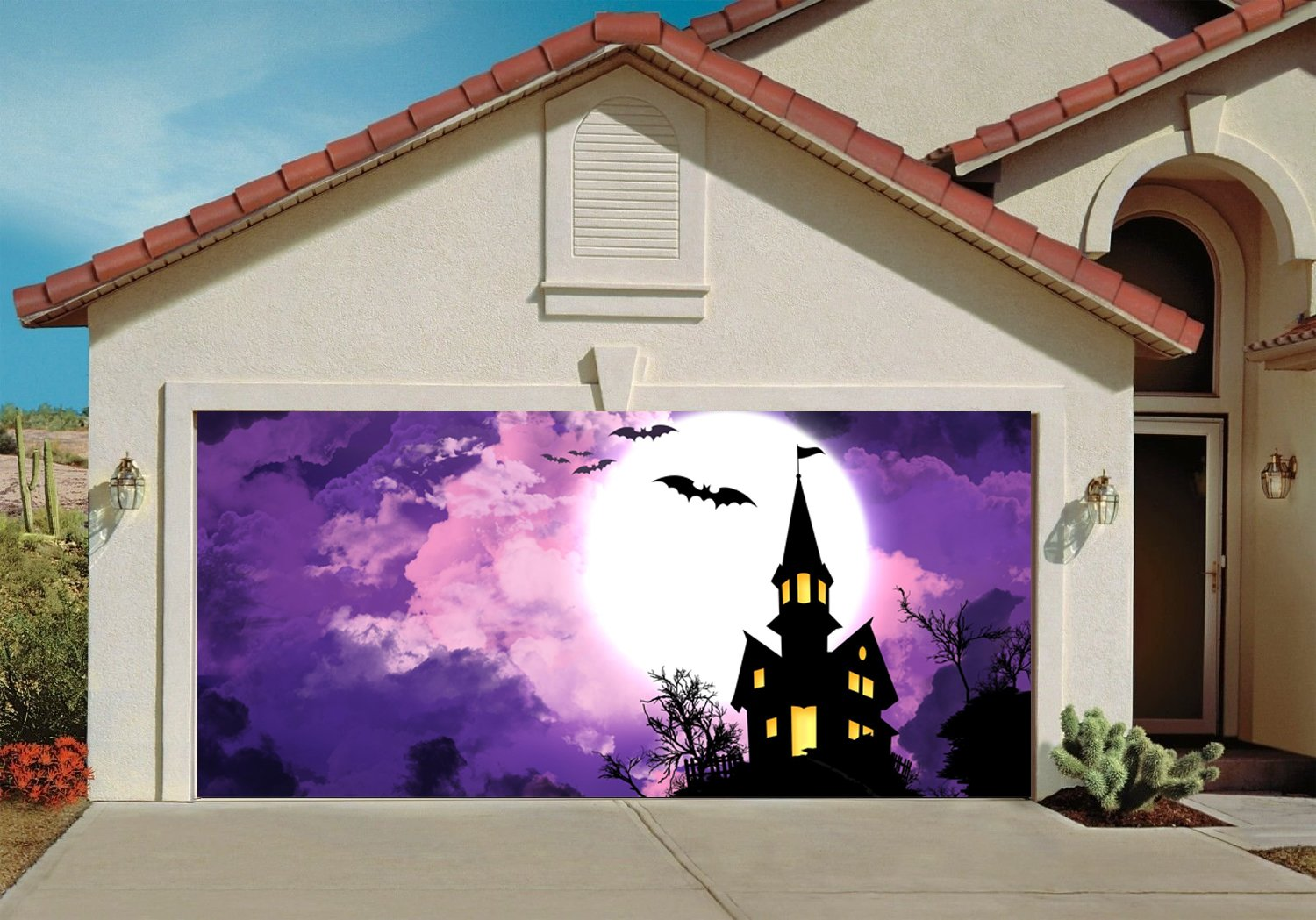 Amazon.com: Halloween Garage Door Cover Decor Bats Night Sky Moon ...