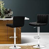 Artiss Bar Stools Set of 2, Adjustable Gas Lift Kitchen Stools, Swivel Leather Bar Chairs, Black