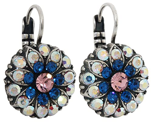 Mariana Silvertone Flower Blossom Crystal Earrings, Kiss from a Rose Blue Pink AB 1029 1068