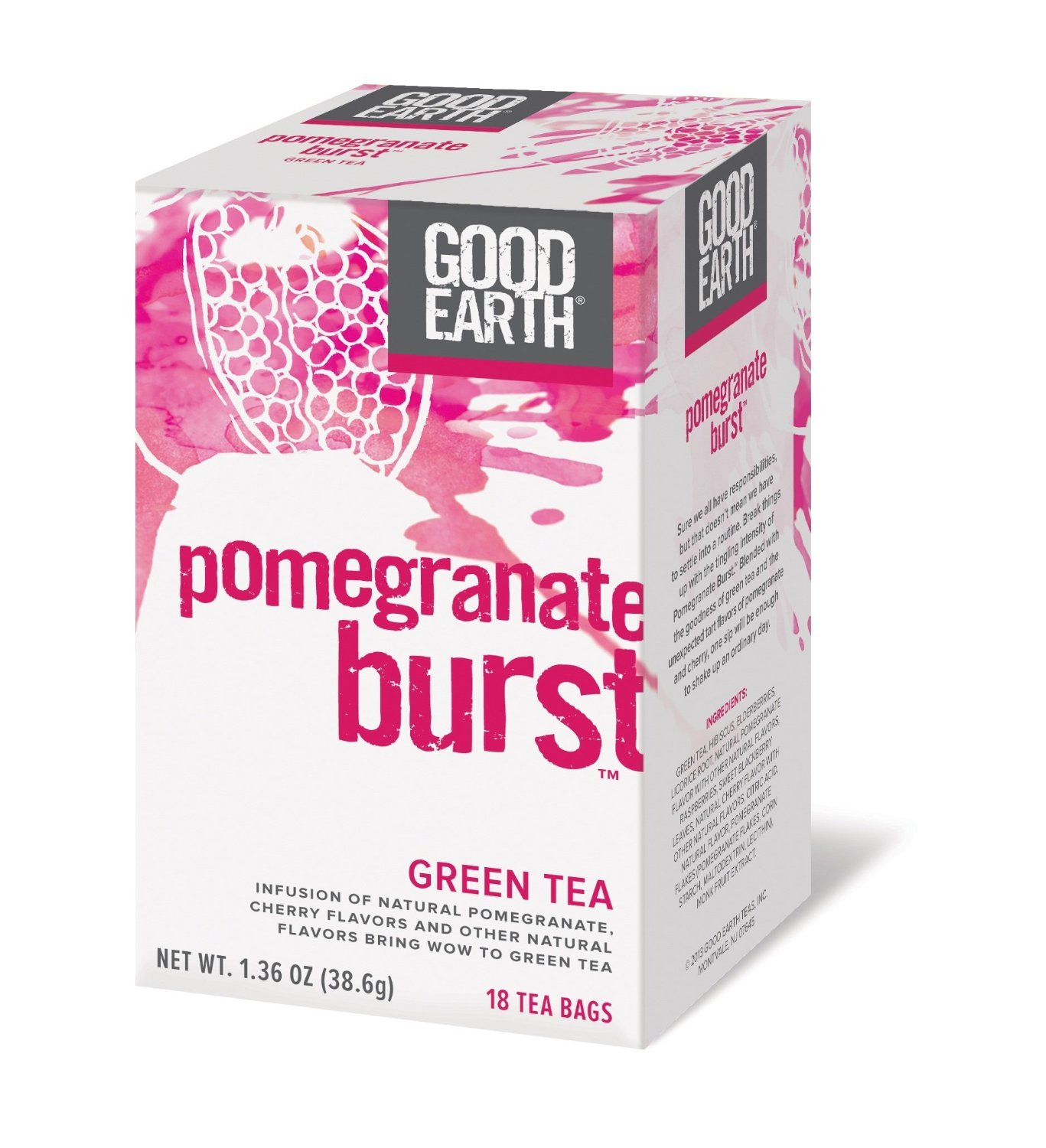 Pomegranate Burst Green Tea, 18 Tea bags by Good Earth Teas (Pack of 2)