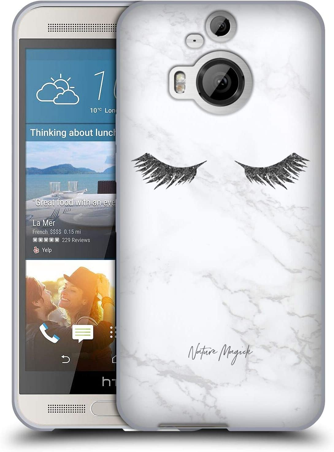 Head Case Designs Officially Licensed Nature Magick Black Sparkles Marble Glitter Eyelashes Soft Gel Case Compatible with HTC One M9+