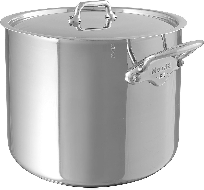 Mauviel Mcook Ferritic Stainless Steel 9.1 qt Stock Pot w//Lid