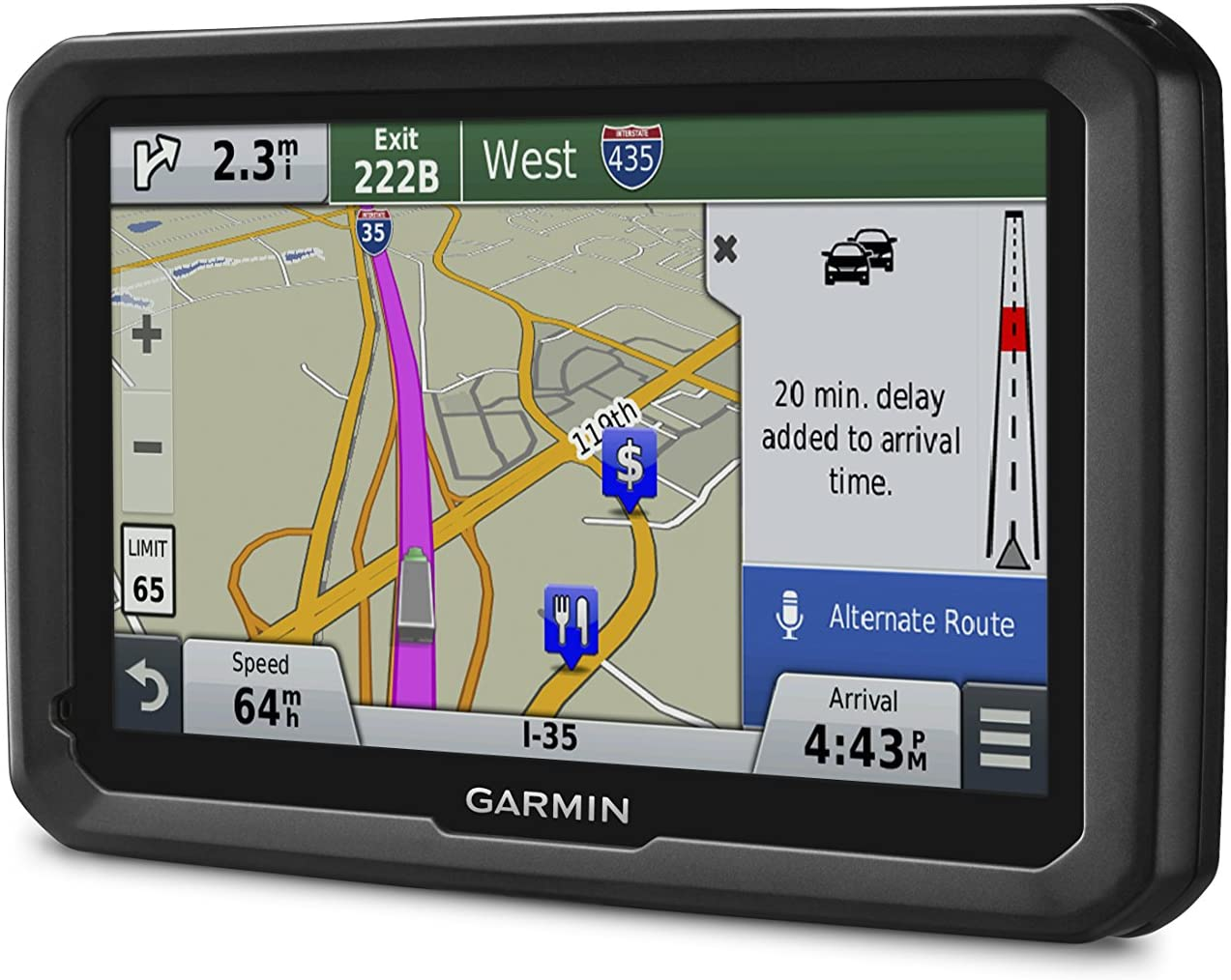 Truck GPS Navigator with 7-inch Glass Display Free Lifetime Map Updates and Traffic Garmin dezl 770LMTHD