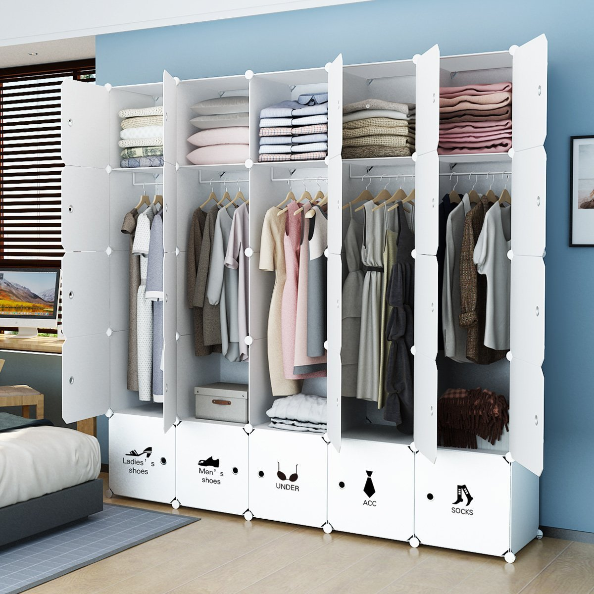MAGINELS Portable Wardrobe Closet Armoire Cube Storage Organizer for Clothes Bedroom with Drawer White (10 Cubes & 5 Hanging Section) by MAGINELS