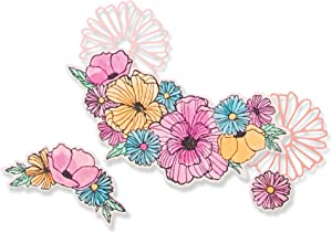 Sizzix Framelits Die Set 6 Pack w/Stamps Ink Blooms, Multicolor