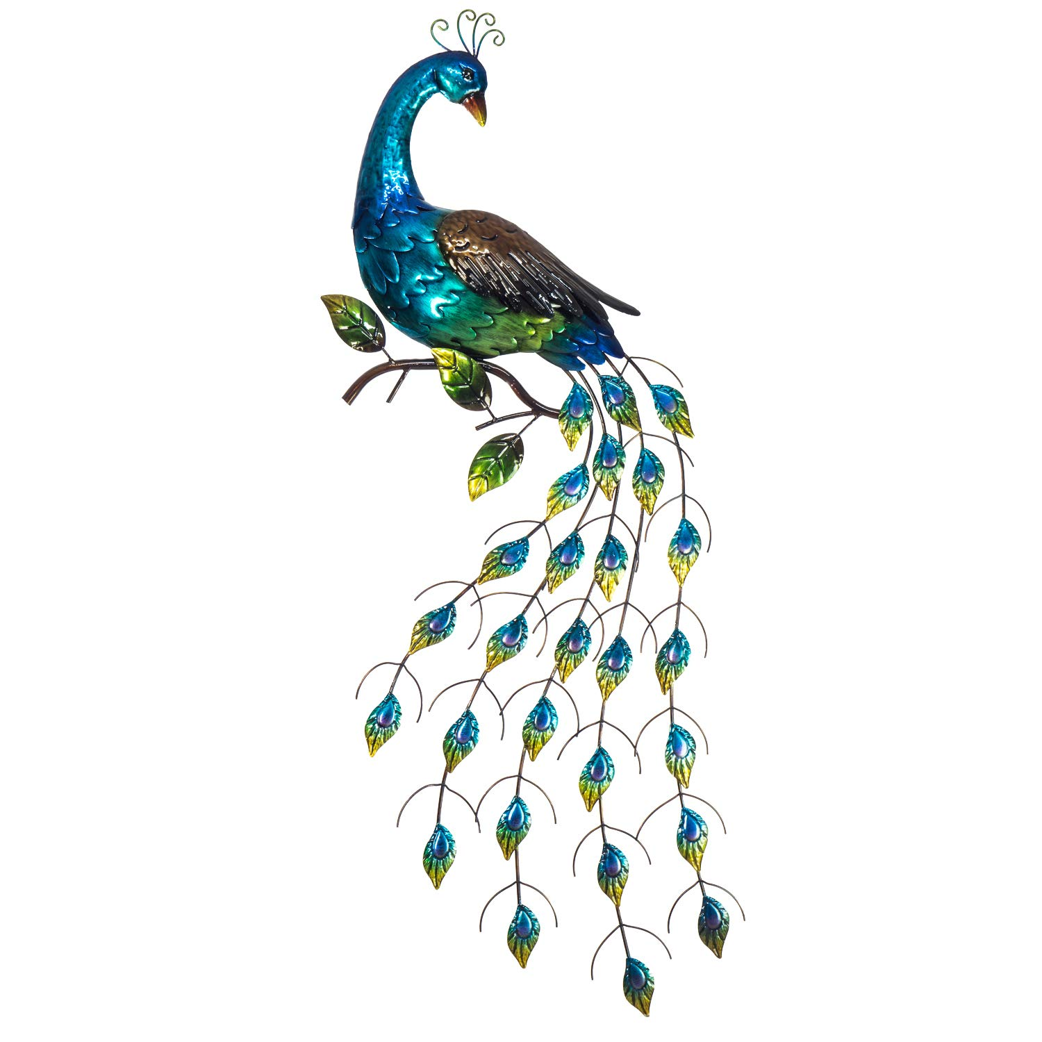 """Peacock Wall Decor - 6D Metal Design - Hand Painted Wall-Hanging - Large  Impressive Wall Décor - 68"""" x 6"""" - Indoor or Outdoor Covered Areas - Home"""