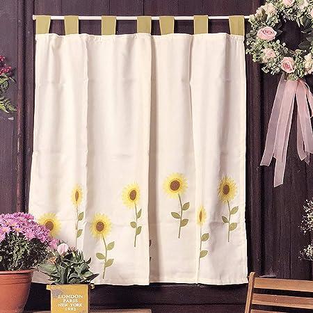 GC&&Girasoles Cafe Curtain Flor del Sol Bordado Diseño Cortinas De Media Cocina Algodón Lino Mezclado Estilo Rural Americano Cortinas Cortas para Cocina Ventana Girasol (w) 115x(h) 150cm: Amazon.es: Hogar